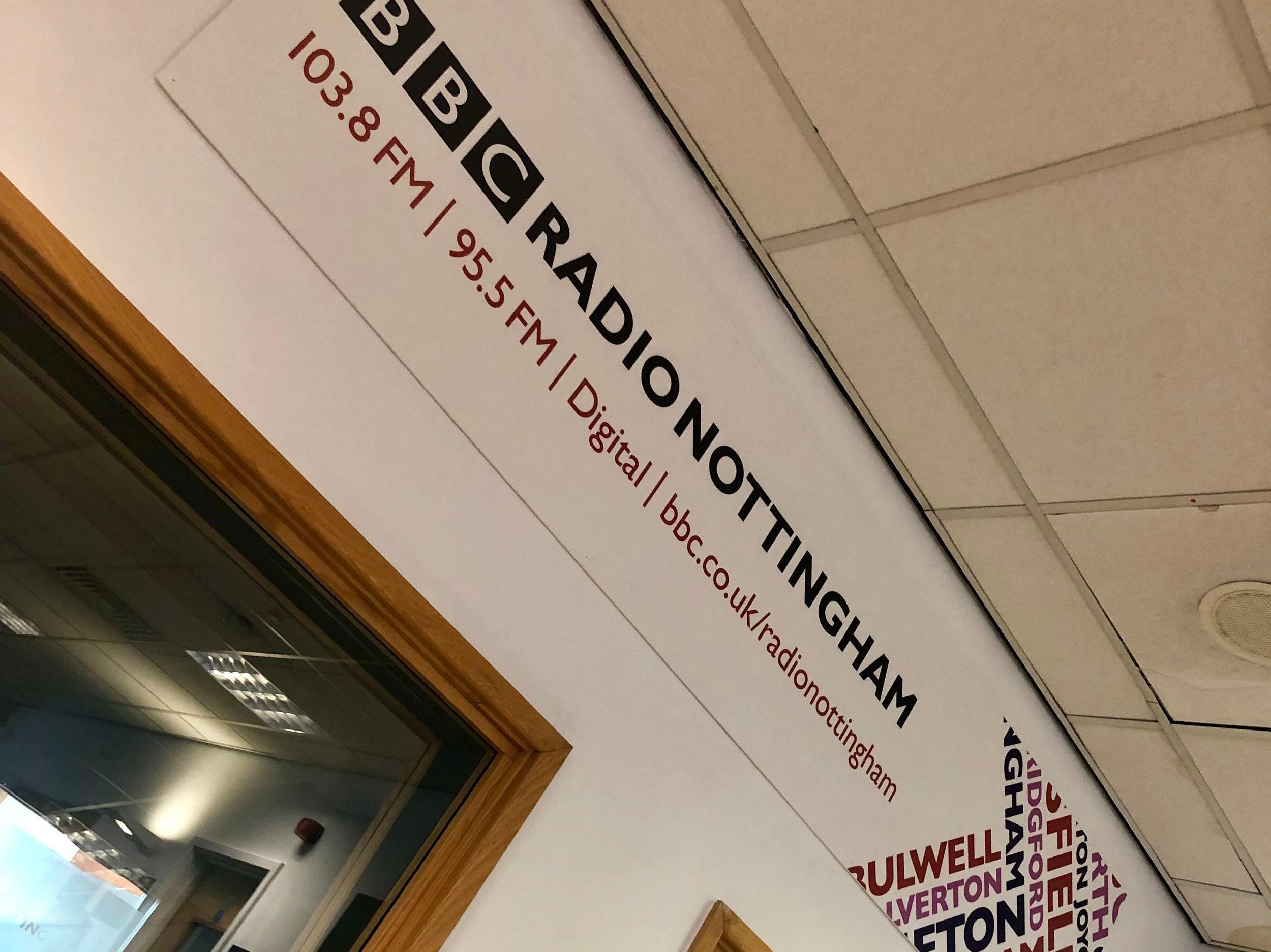 The studio of BBC Radio Nottingham to discuss International Day of Yoga 2019