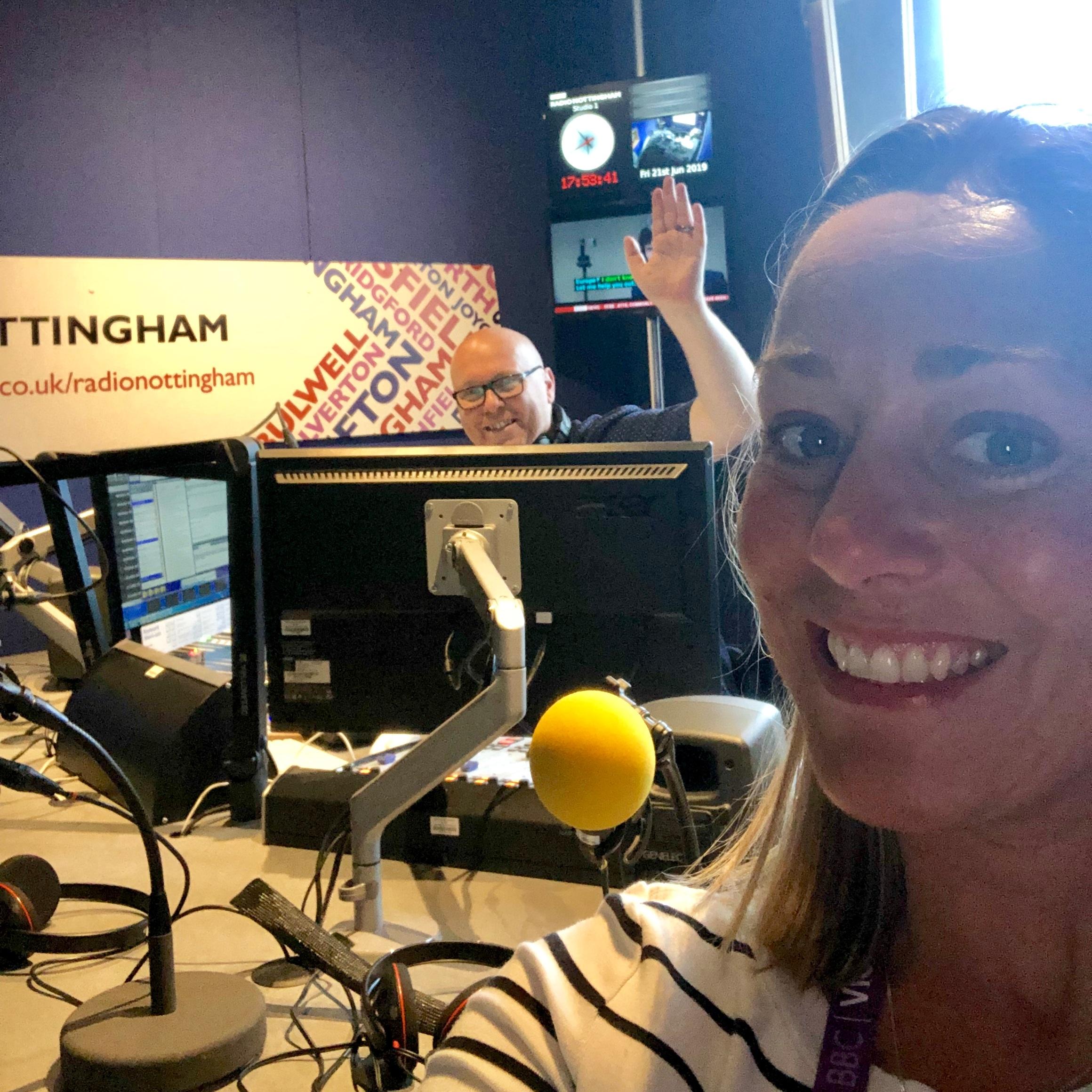 Lee-ann+from+All+You+Yoga+in+Hucknall+talking+yoga+with+BBC+Radio+Nottingham+on+International+Day+of+Yoga+2019