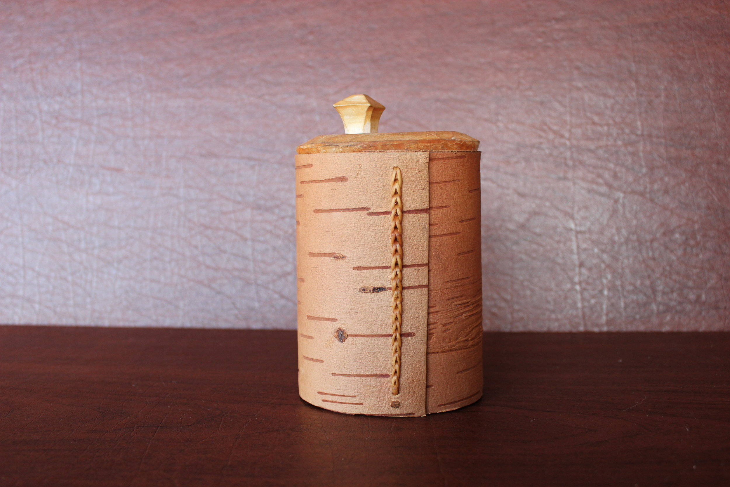 Russian sewn birch bark canister (spruce root).JPG