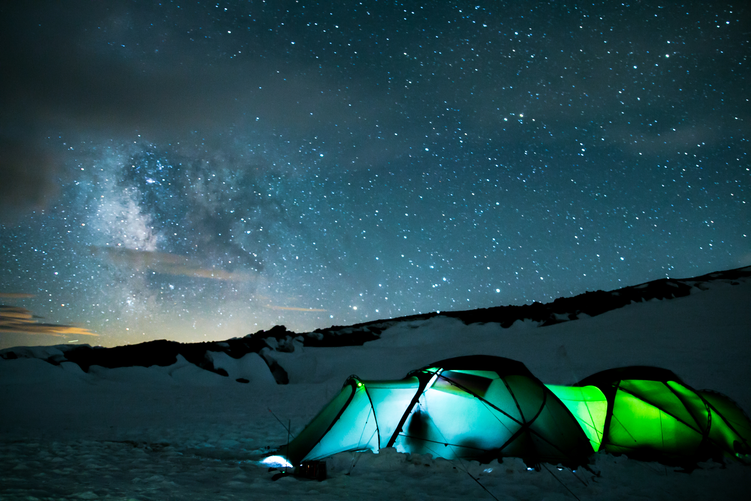 Our camp at 14,200' inside Mt Rainier's active volcanic crater