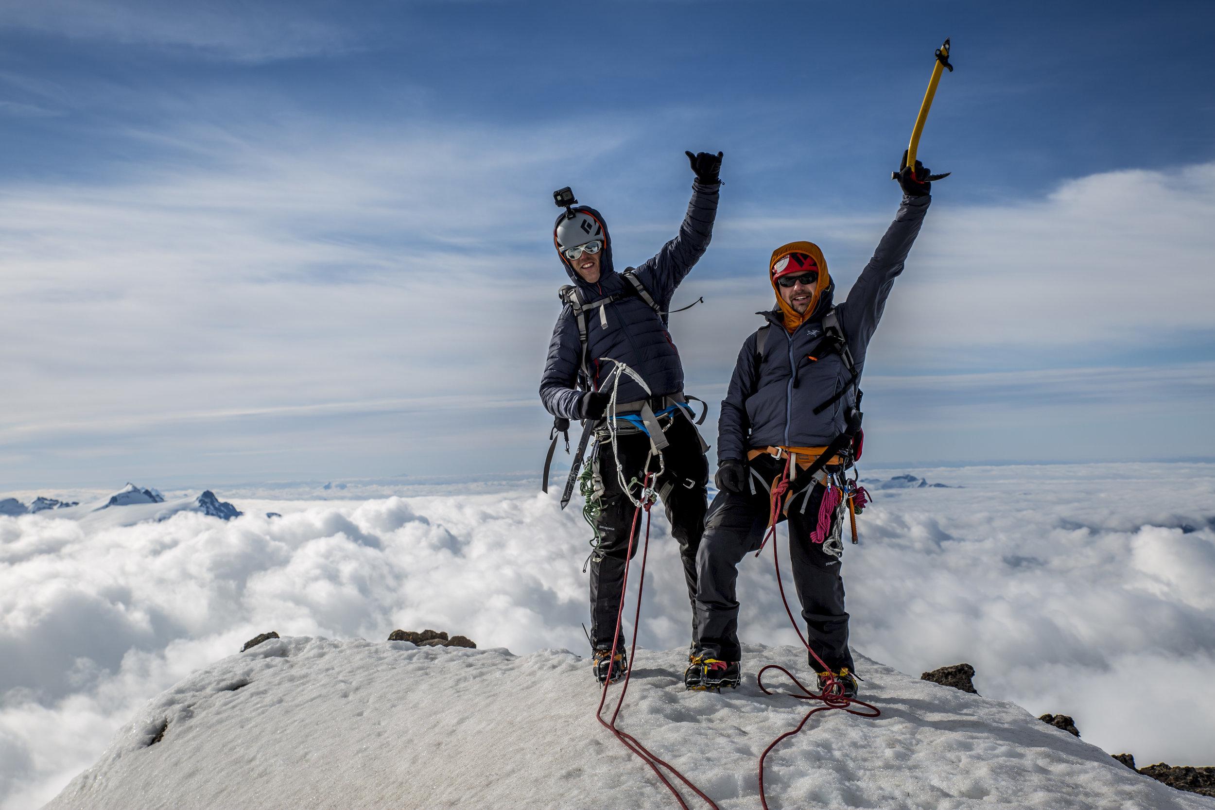Brent left, Clayton right, on our practice climb up Mt Garibaldi in Squamish BC.