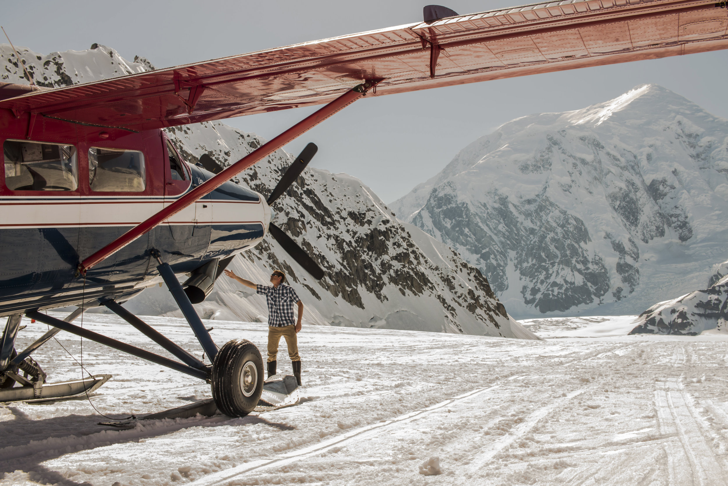 The glacier runway with Mt Foraker in the background.