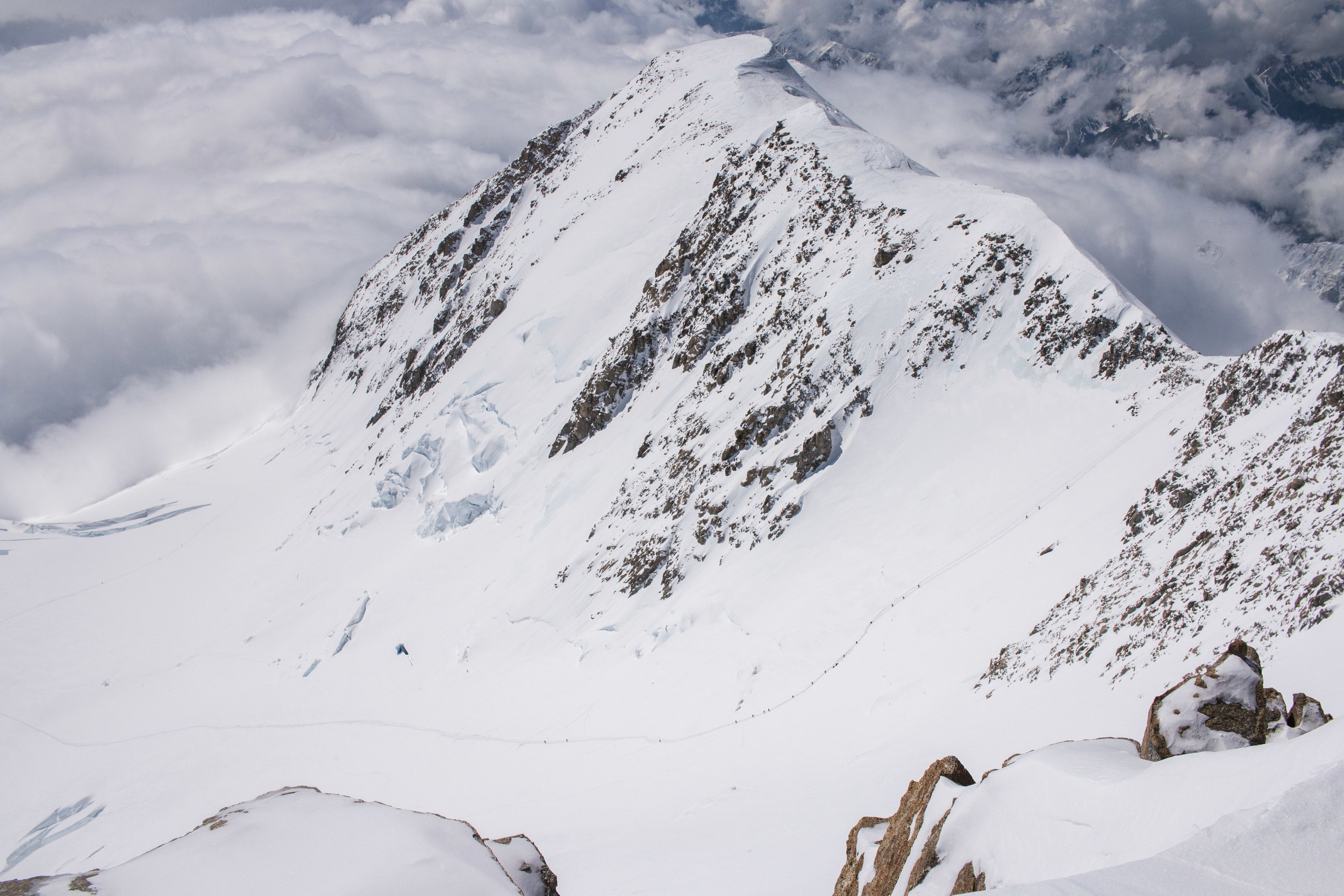 Looking down at the fixed lines from camp 4 @ 17,200'.