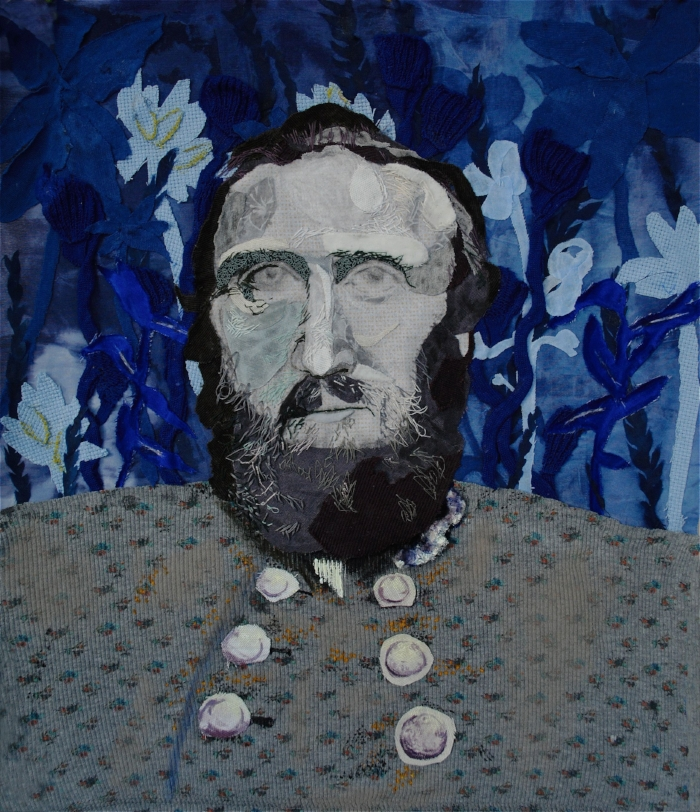 "The Wall   2017. 13"" x 15"", Embroidered/collage fabric, acrylic, oil pastel.   The Wall,  a portrait of ""Stonewall"" Jackson as a rumination on the qualities that would earn a person such a nickname, is in the National Parks Service Collection following a residency with Manassas National Battlefield Park in August of 2017."