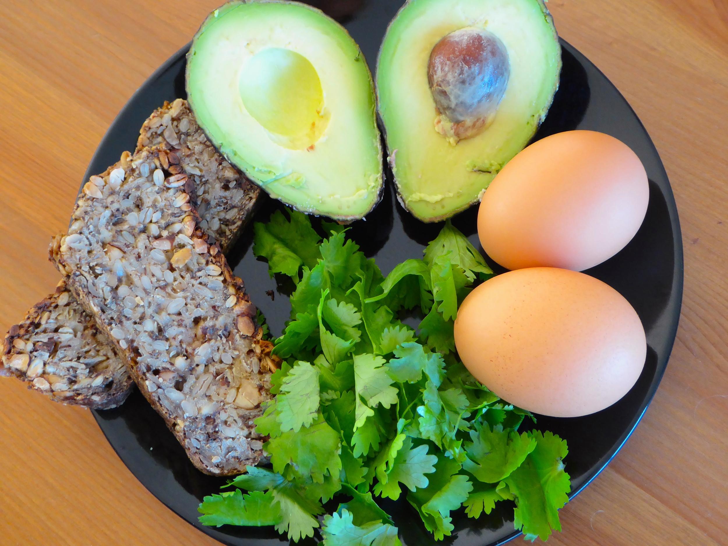 egg and smashed avocado on toast