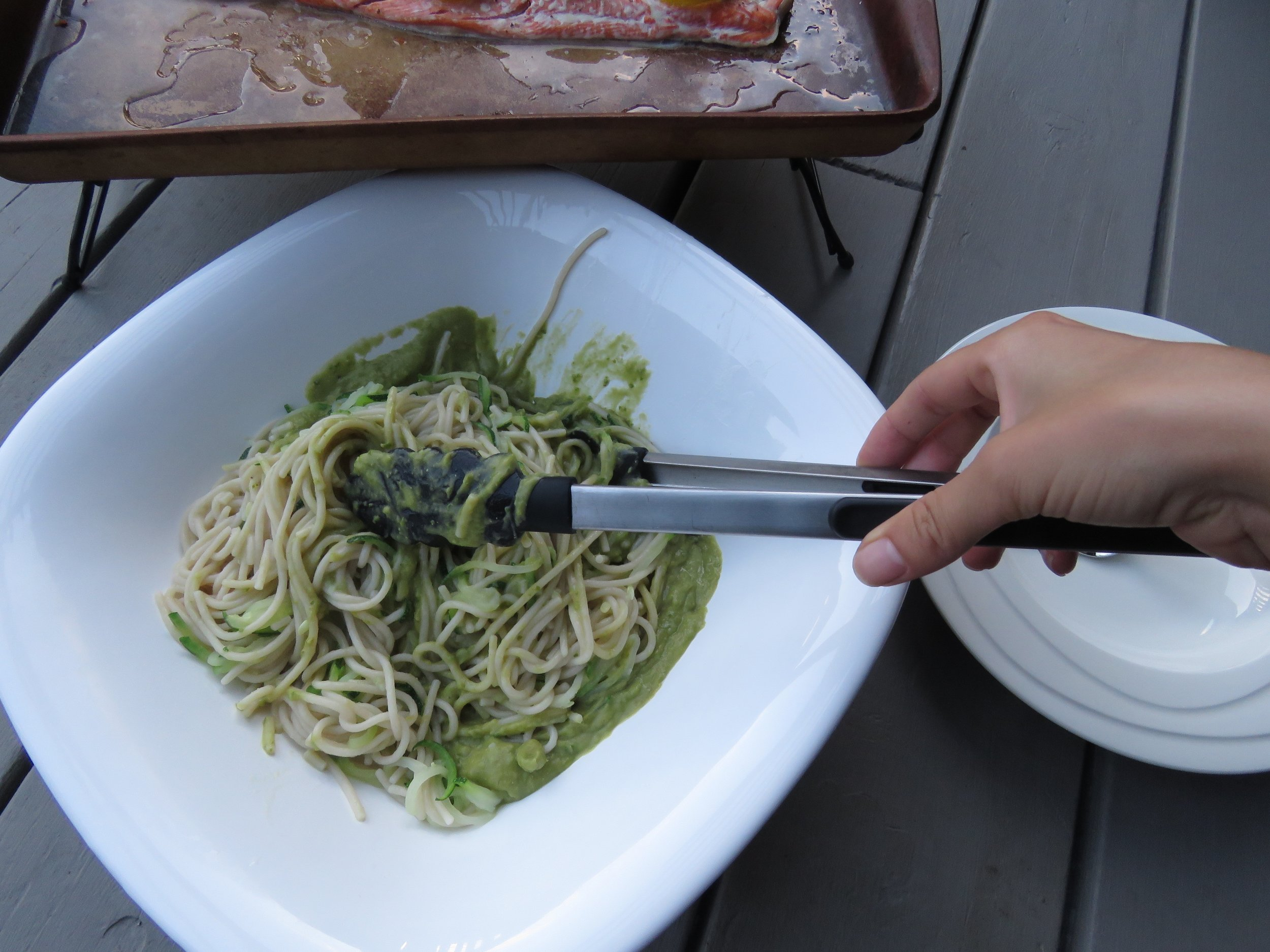 Cutting pasta 1/2 and 1/2 with zucchini noodles is a great little trick to increase the volume and veggies in your meal!