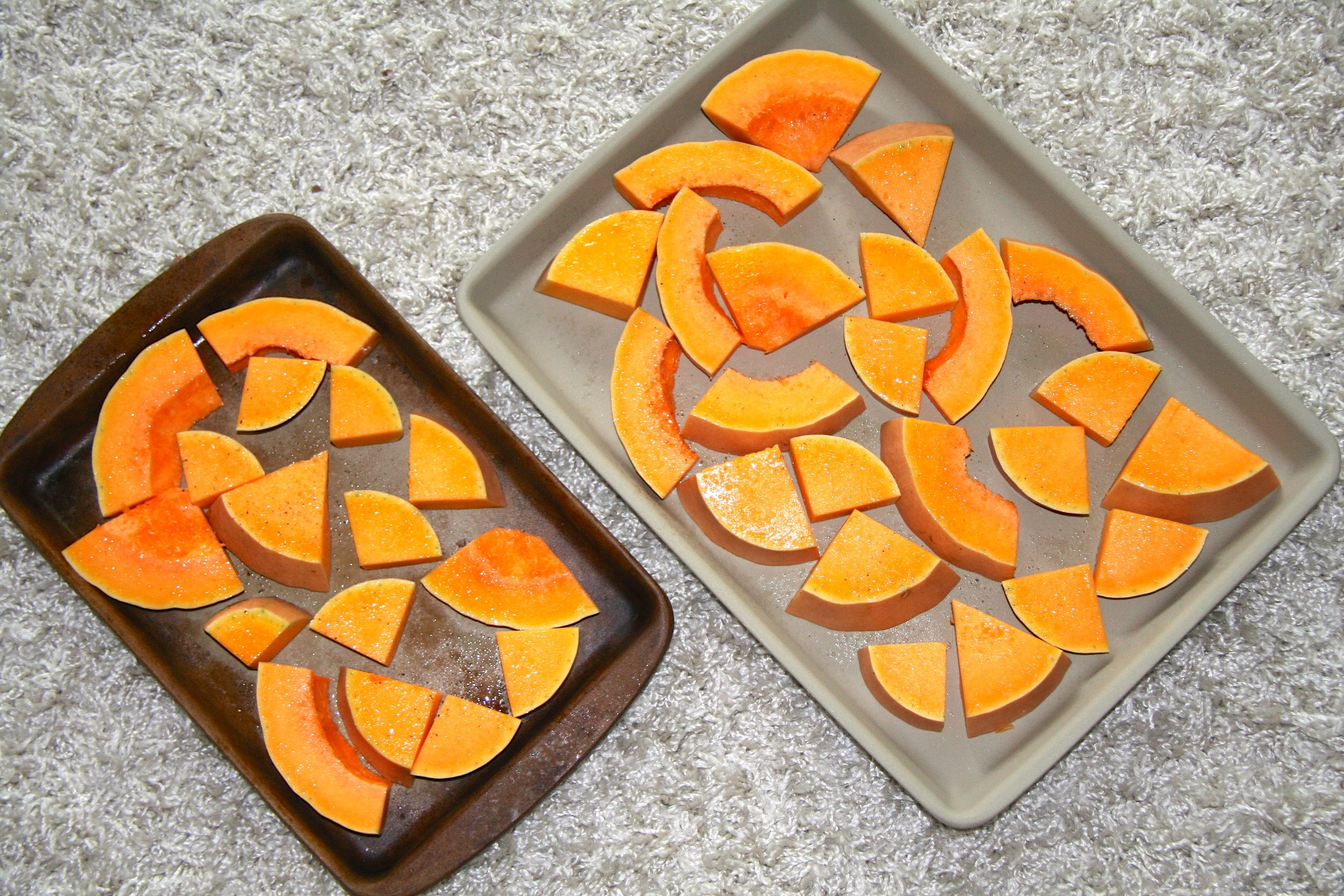Butternut Squash all cut up and ready to roast!