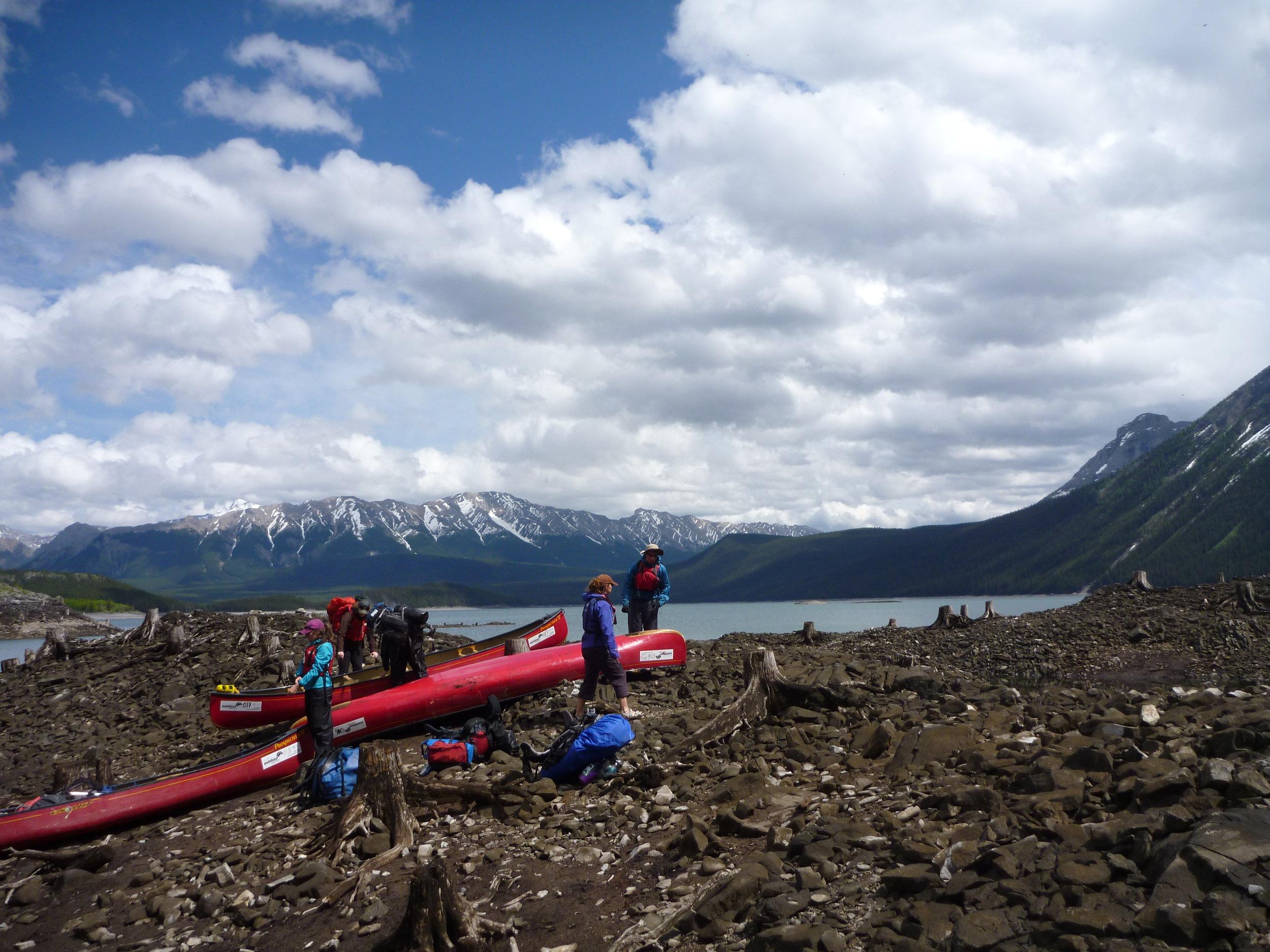 Canoe camping weekend in the rockies