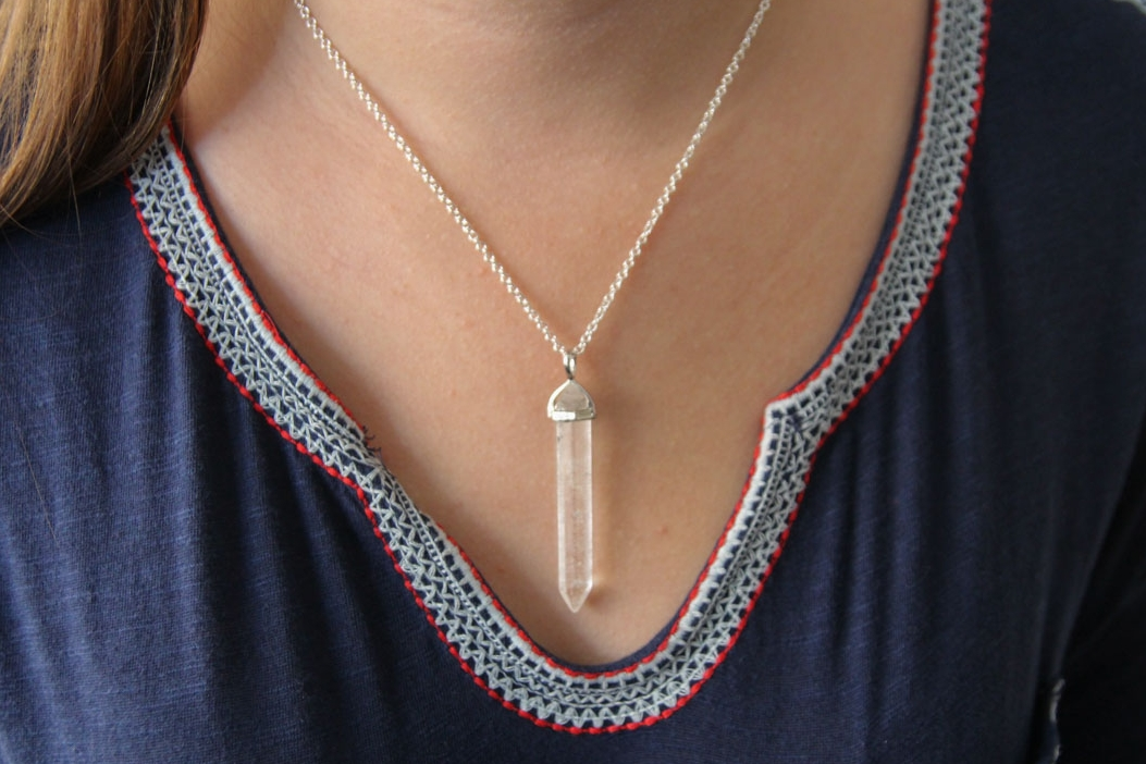 quartz point intention necklace