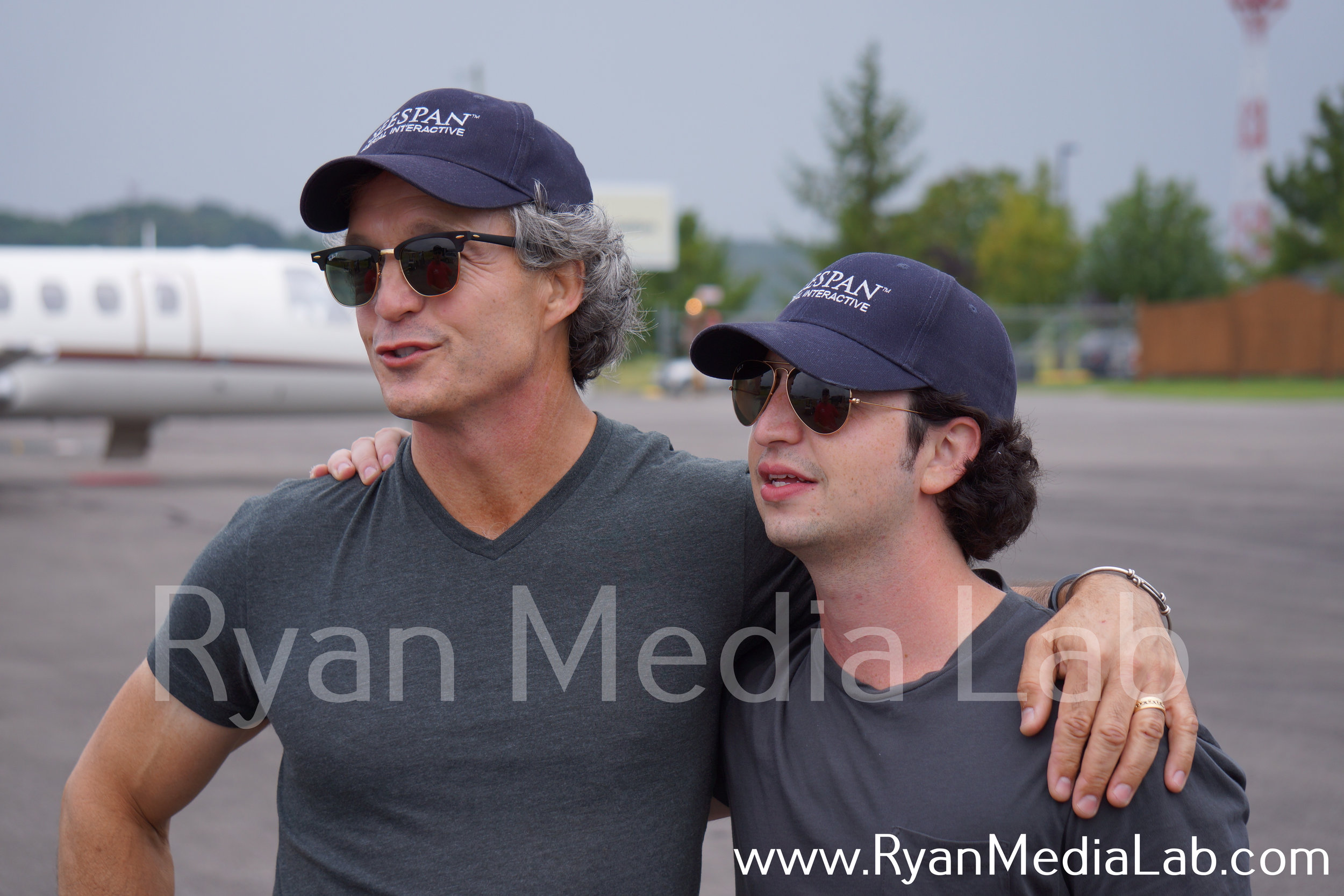 """Mark and Kyle Ryan at the Lonesome Pine Airport prior to the historic """"firsts"""" in drone flight, July 2015."""