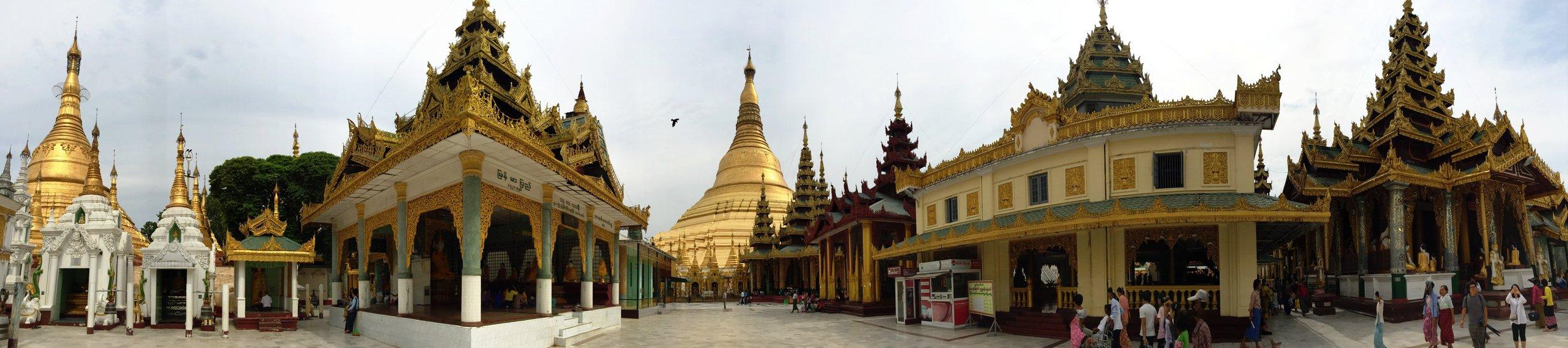 Part of the Shwedagon Pagoda complex, Yangon, Myanmar.