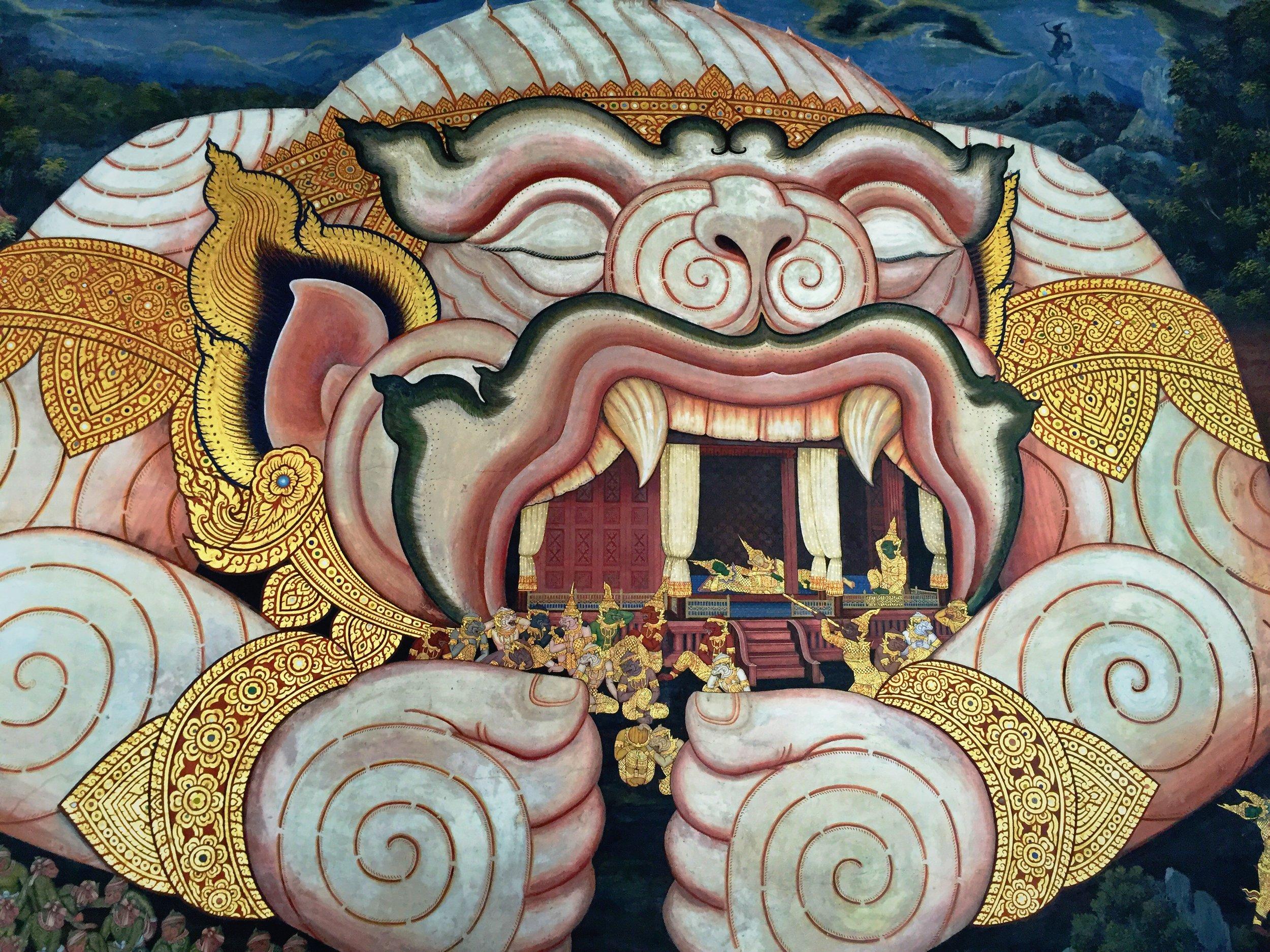 Artwork in a Thai Buddhist temple