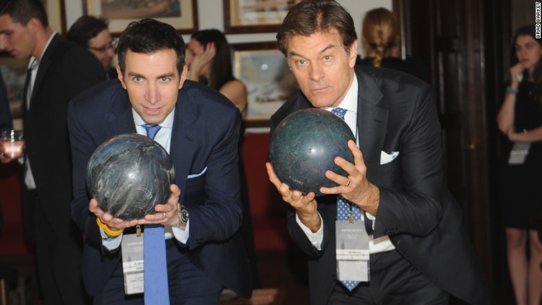 Andrew Ross Sorkin and Dr. Oz at the Rockefeller Estates bowling alley.