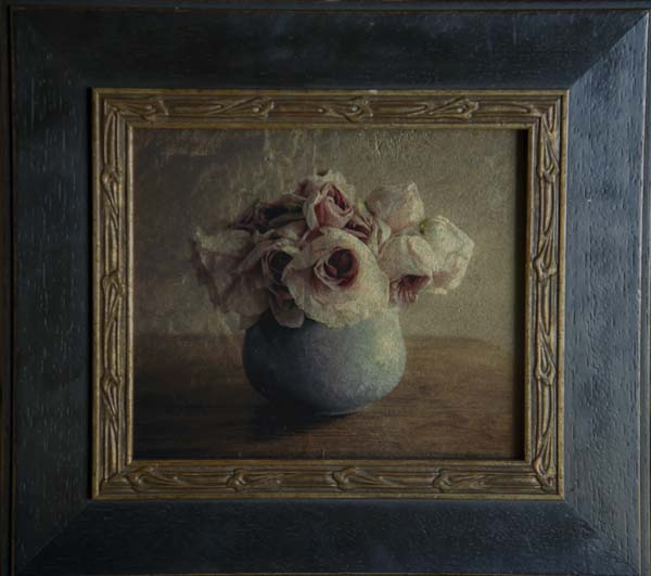 Pink Roses, Blue Vase