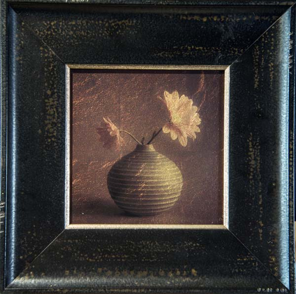 Green Vase with Two Daisies