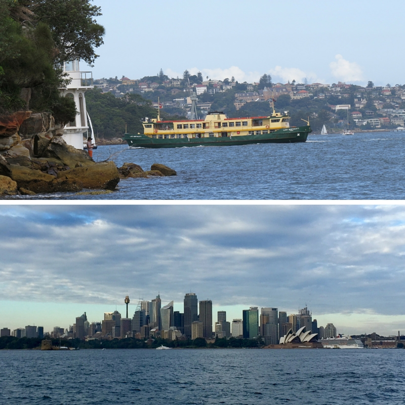 Top: Ferry boat, Bottom: Sydney CBD