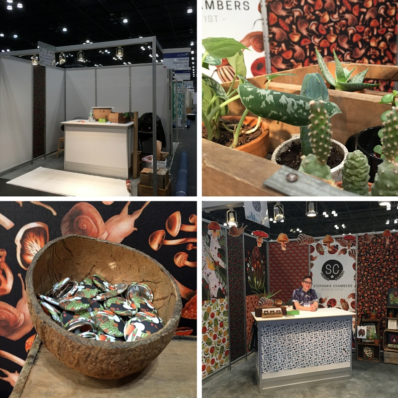 Top left: Empty booth, Top right: Some plants brought from home to be part of the booth. Bottom left: Promotional buttons, Bottom right: Me at the booth.