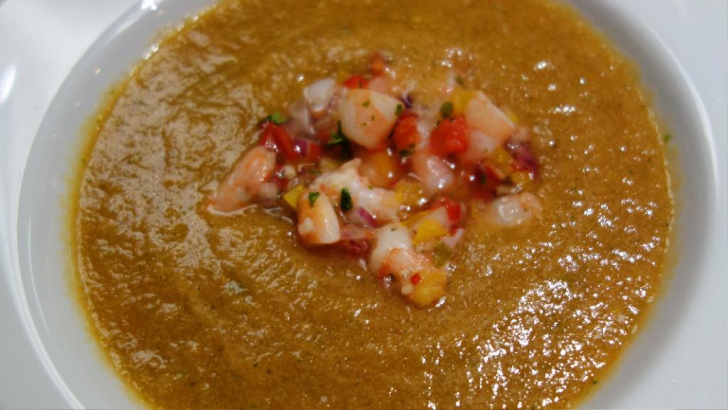 Heirloom Tomato Gazpacho with Shrimp Salsa