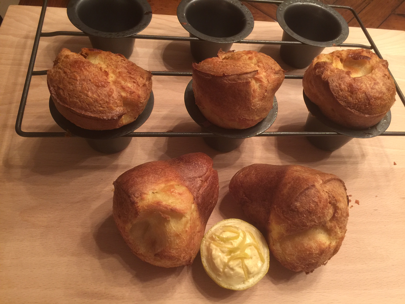 Lemon Almond Popovers with Lemon Honey Butter.