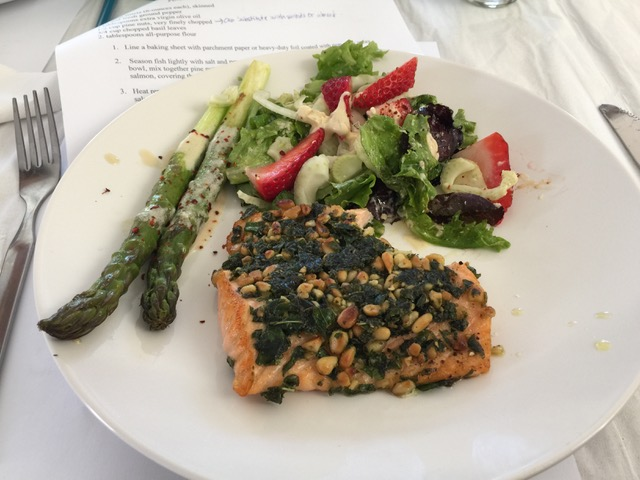 Salmon Crusted with Basil and Pine Nuts, Spring Salad with Asparagus
