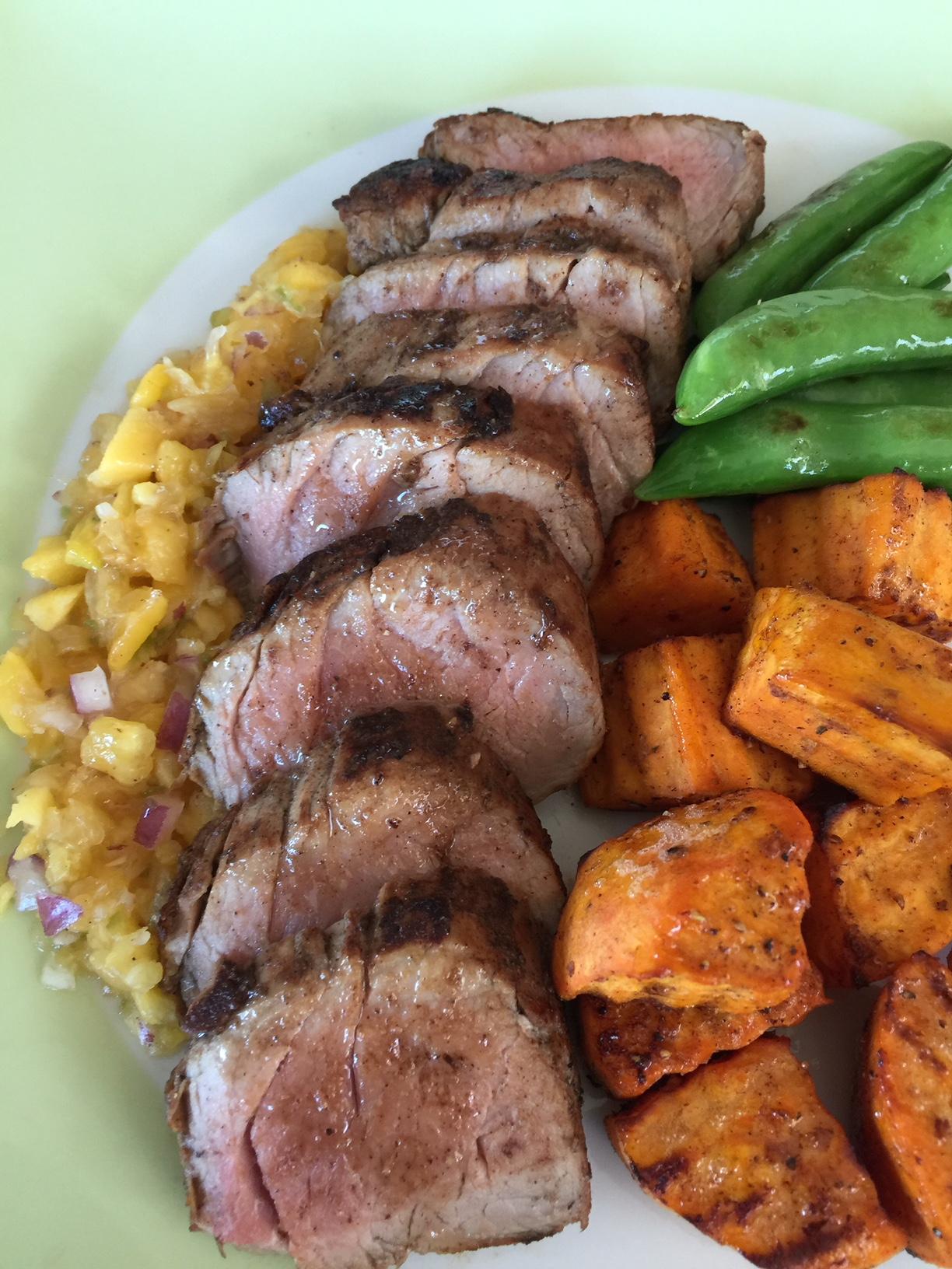 Jamaican jerk pork tenderloin with pineapple mango salsa, Caribbean Spiced Sweet Potatoes and Sugar Snap Peas