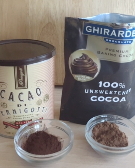 Note the difference in the colors between the Cacao Di Pernigotti and Ghirardelli cocoa..