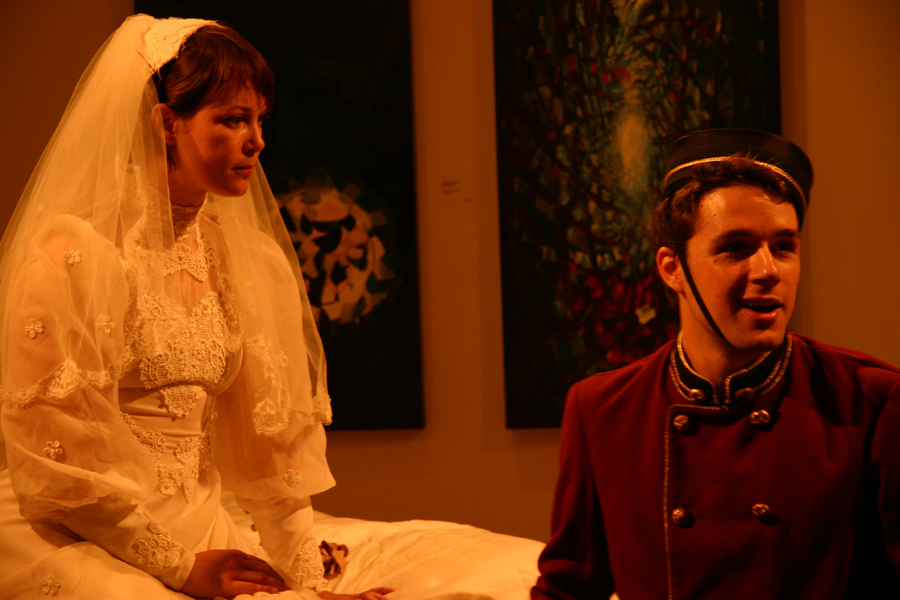 Lori Nancy Kalamanski as The Bride & Marc Bendavid as The Bellhop in  The Tearful Bride  by Rick Roberts