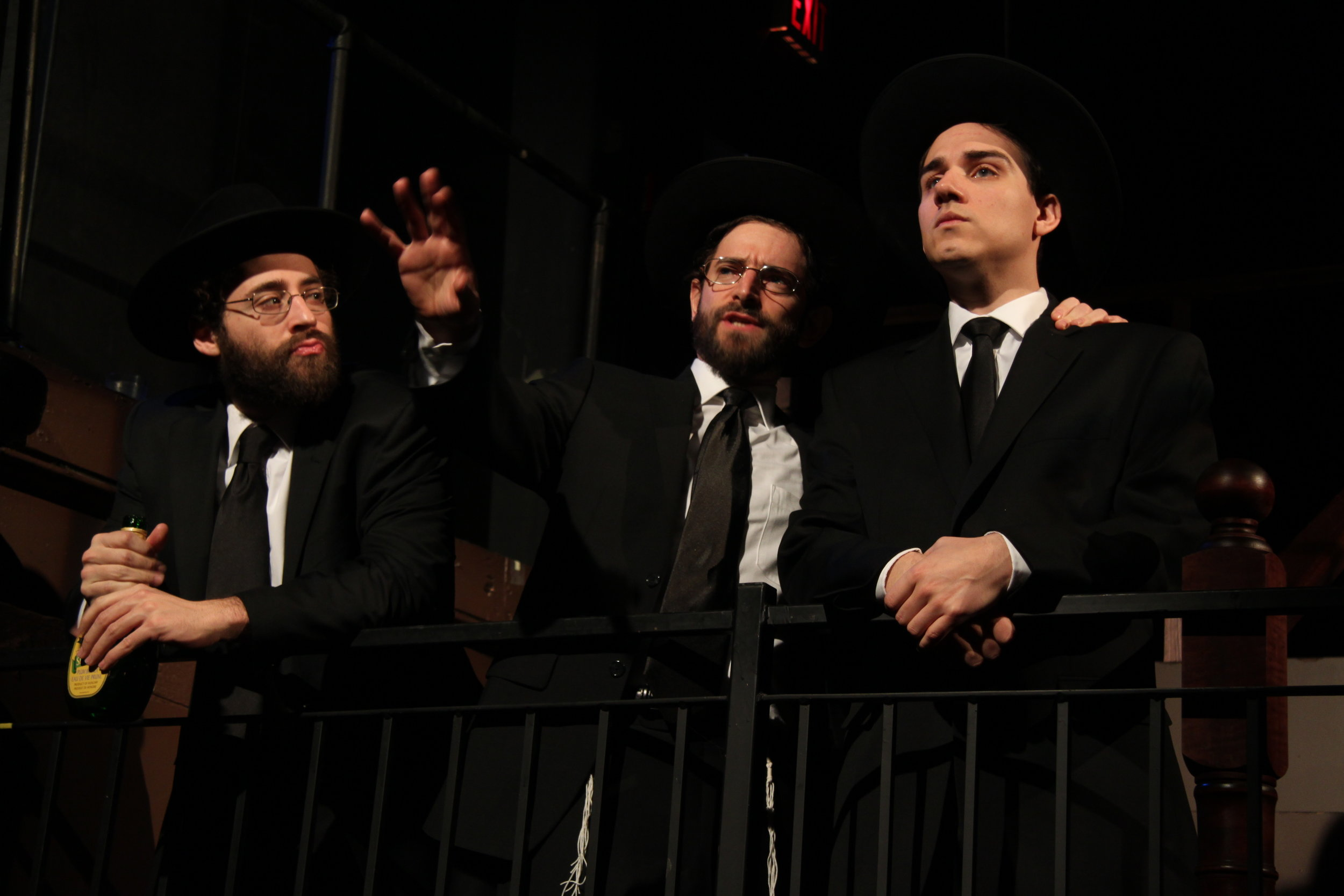 Michael Rubenfeld as Menachem, Jordan Pettle as Ephraim, and Aaron Willis as Chaim in YICHUD (Seclusion)