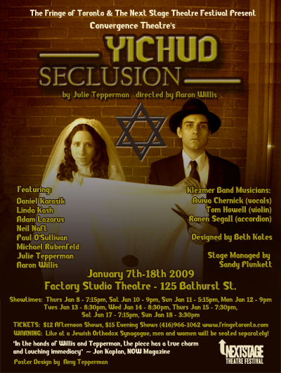 Original poster for the 2009 Next Stage Festival production. Photo by Sandy Plunkett. Designed by The Toronto Fringe.