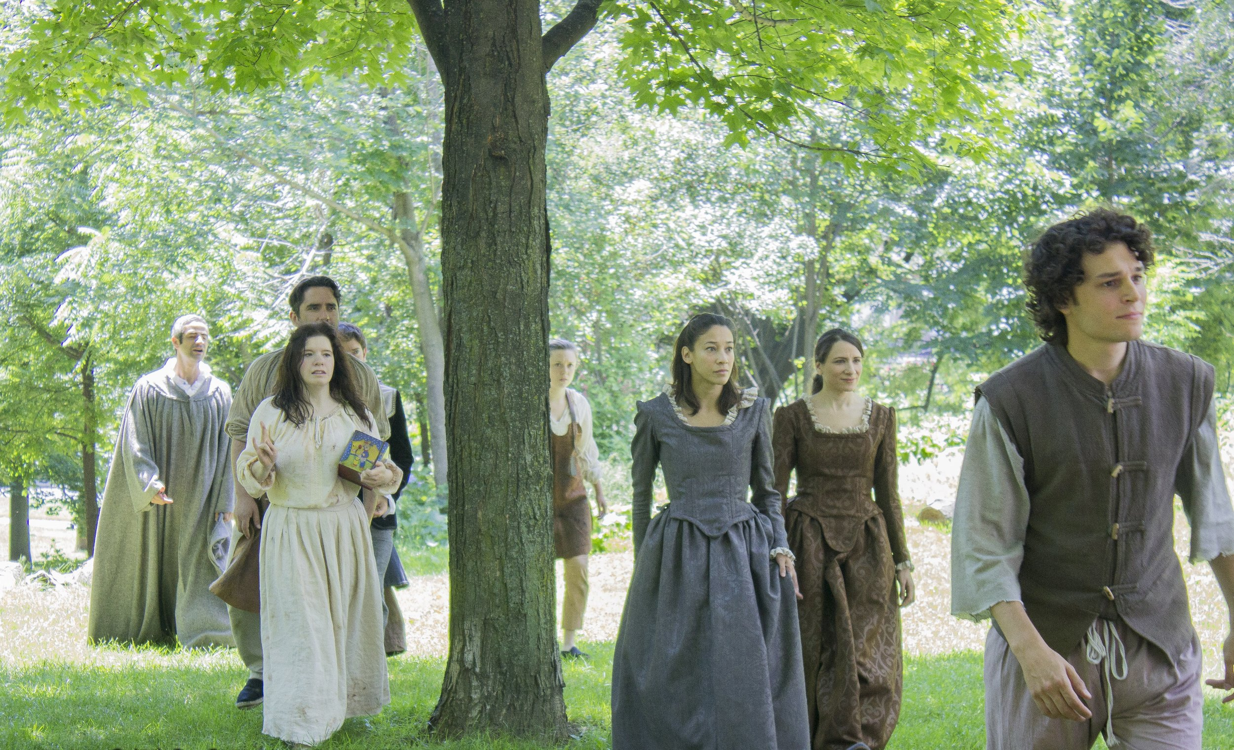 Members of the Passion Play Cast entering Withrow Park: (L-R) Sam Kalilieh, Jordan Pettle, Thrasso Petras, Amy Keating, Katherine Cullen, Julie Tepperman, Mayko Nguyen, and Andrew Kushnir