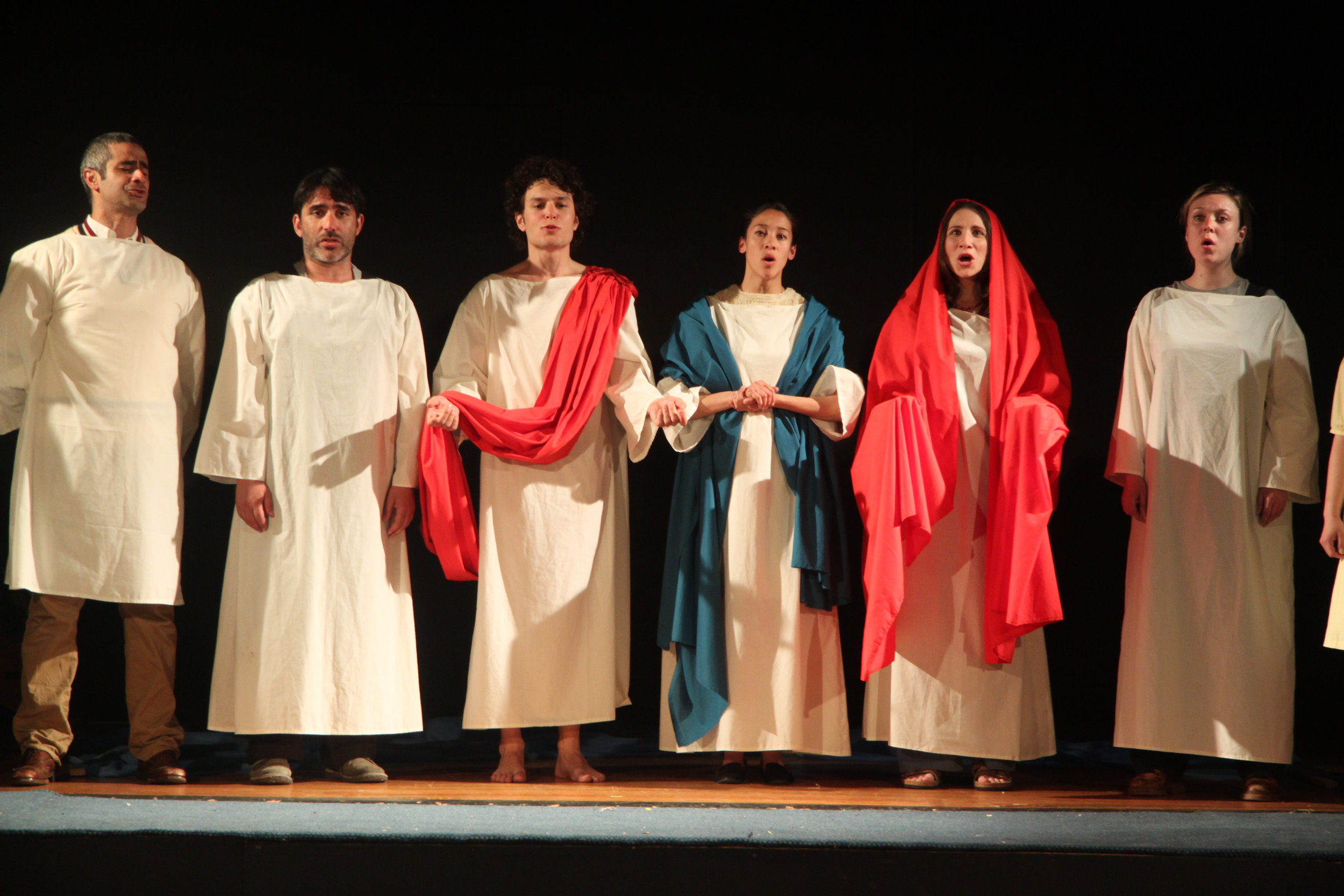 Sam Kalilieh, Thrasso Petras, Andrew Kushnir, Mayko Nguyen, Julie Tepperman, and Katherine Cullen in Passion Play (Part Two)
