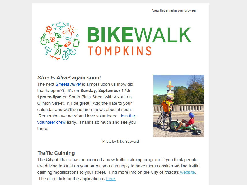 Sign Up for E-News - Stay in the know of new projects, cool events, and calls to action for biking and walking facilities. Join the movement!