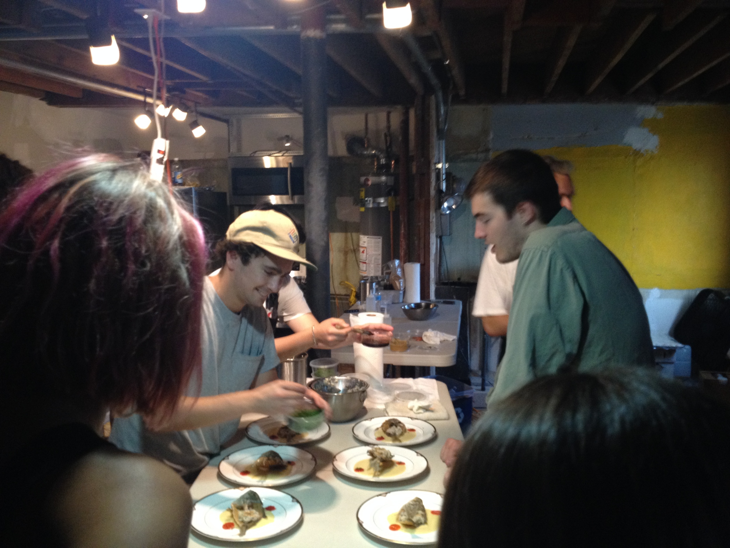 plating pompano in makeshift kitchen
