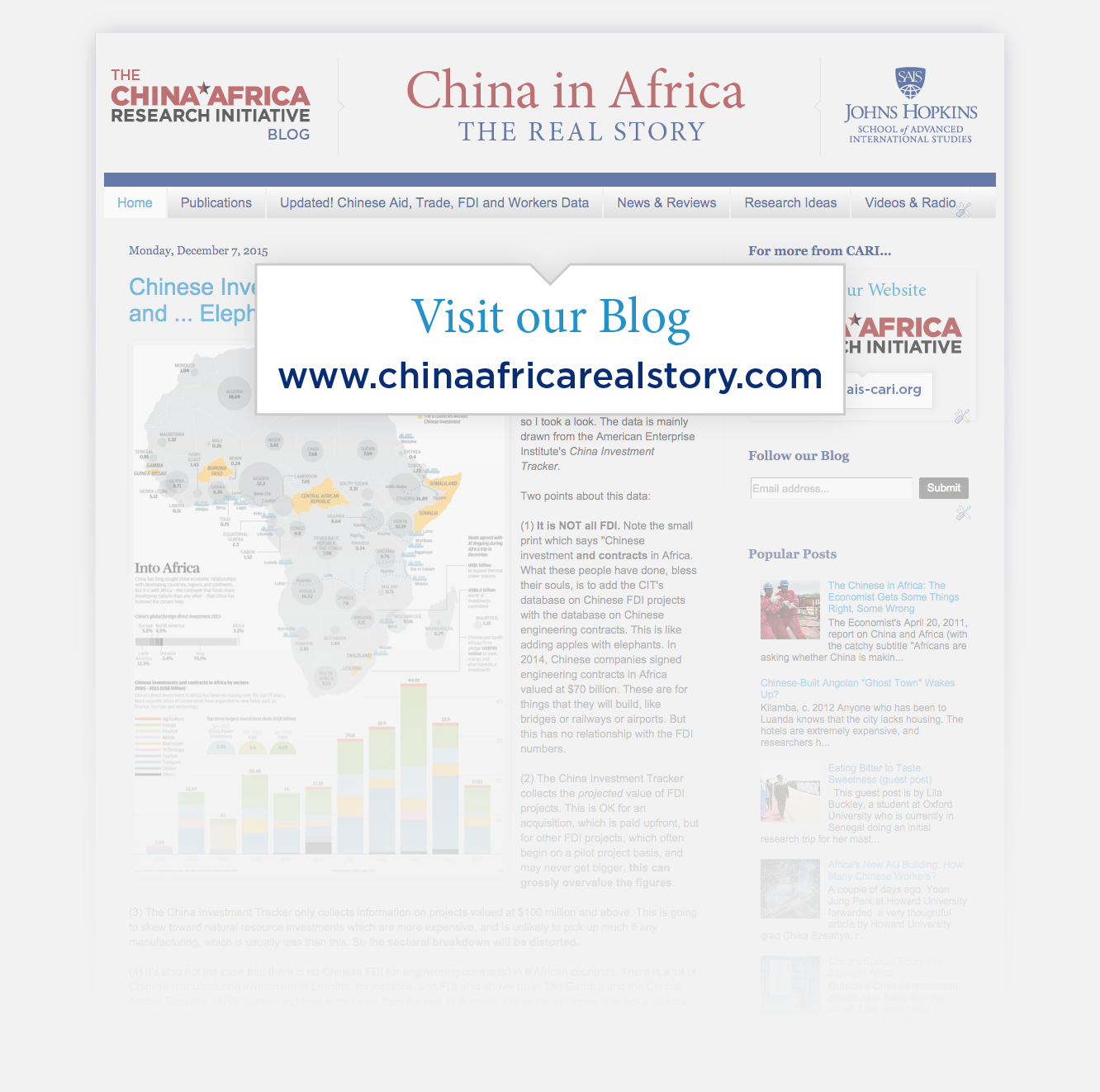 """Link to the CARI Blog, """"China in Africa: The Real Story"""" at www.chinaafricarealstory.com"""