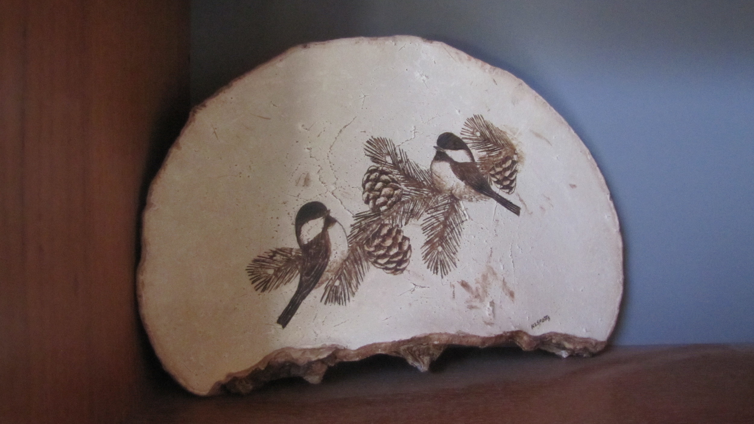 Wood-burned tree fungus by Karen