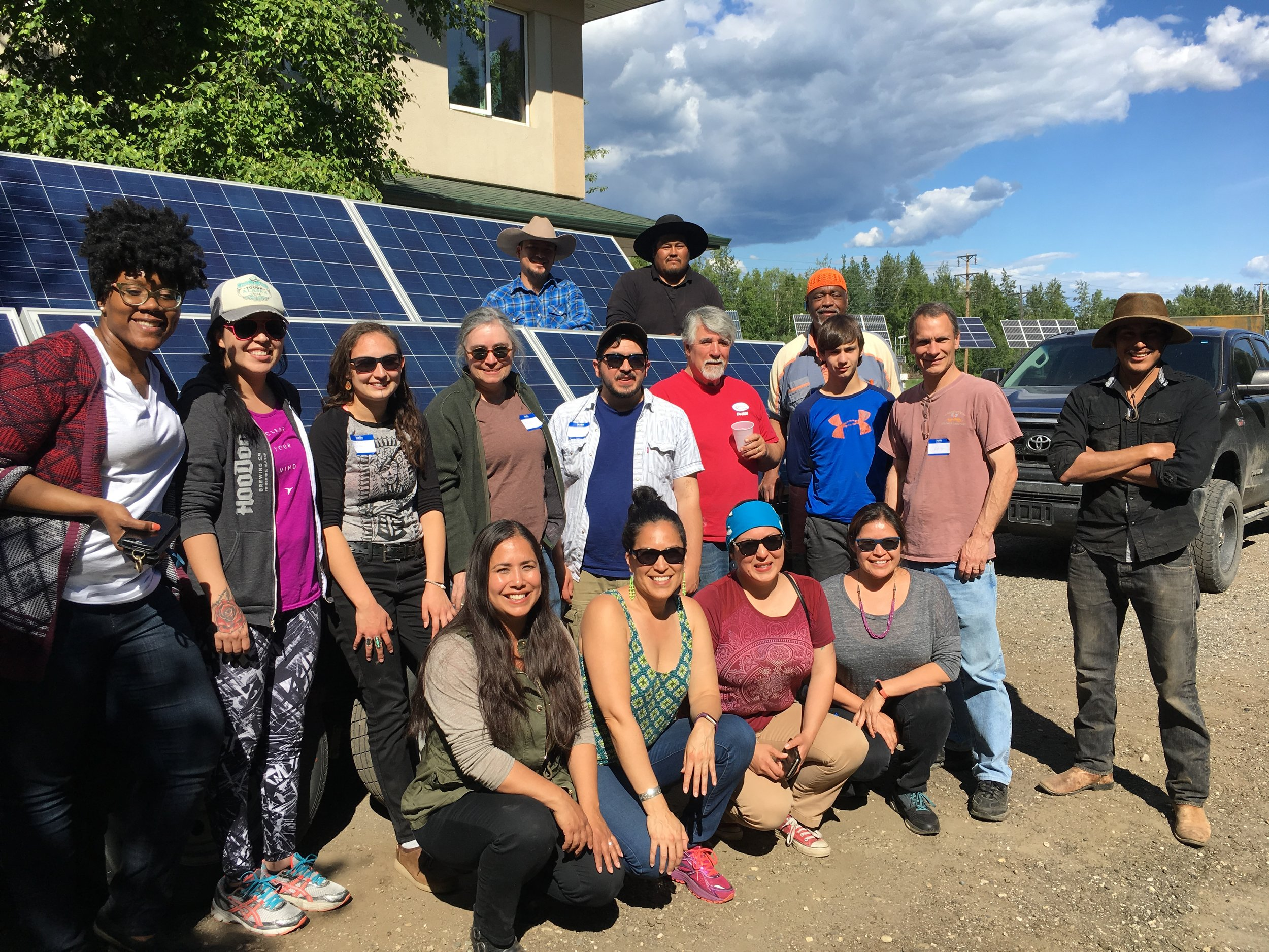 In the summer of 2017 we hosted a community solar build and together we built a mobile solar unit to power community events and our office. Thanks to our partners at  Native Renewables  and the  Fairbanks Climate Action Coalition !