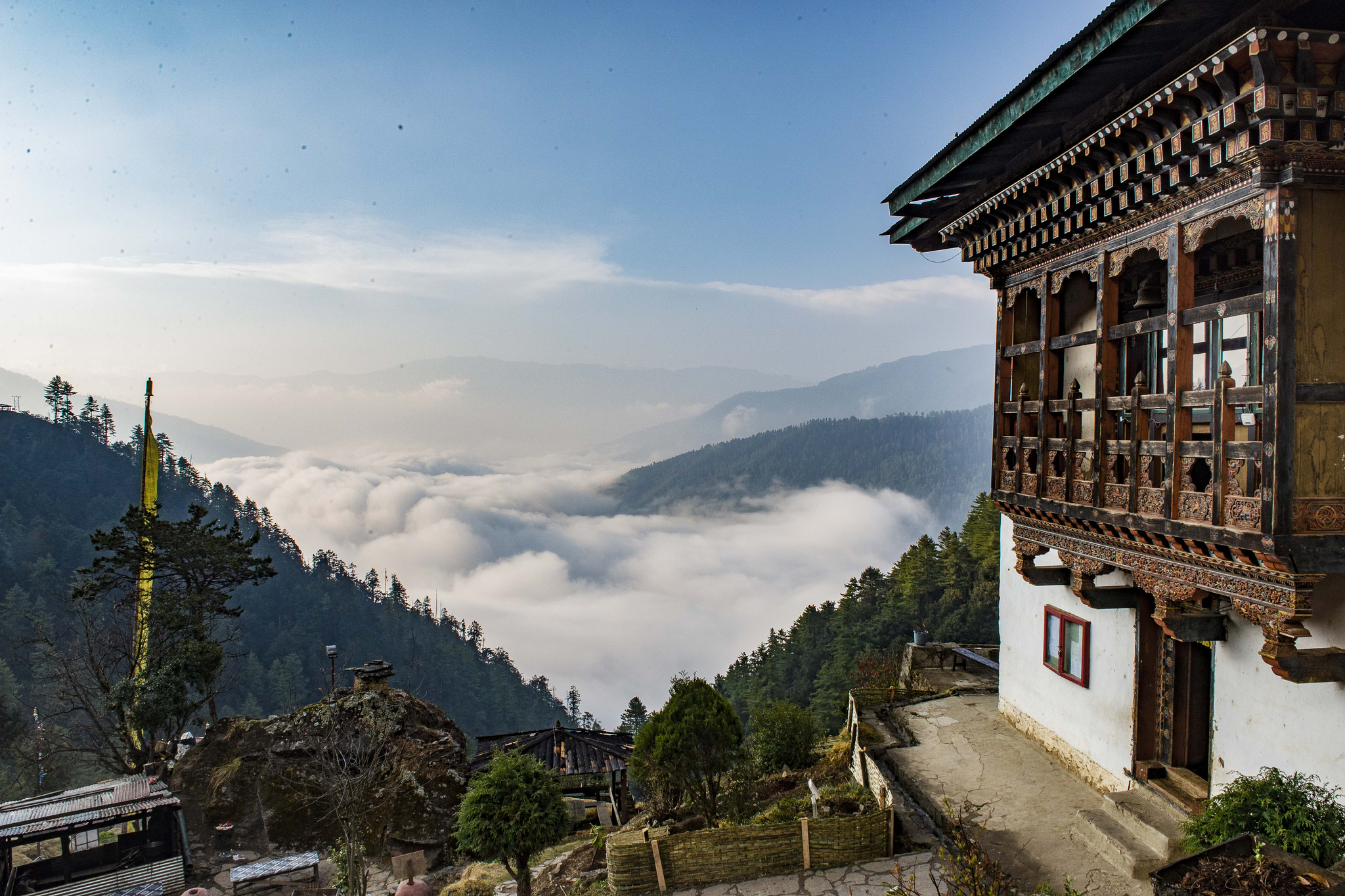 The view from the 12th century Dodedrak Monastery. The tour includes an overnight stay here with the monks who we can observe performing morning and evening chanting.