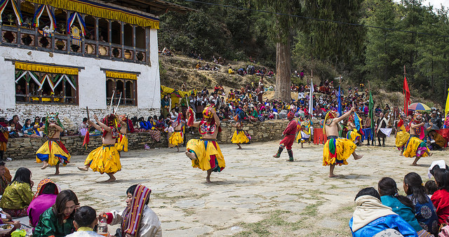 Dancing at a local festival, Paro