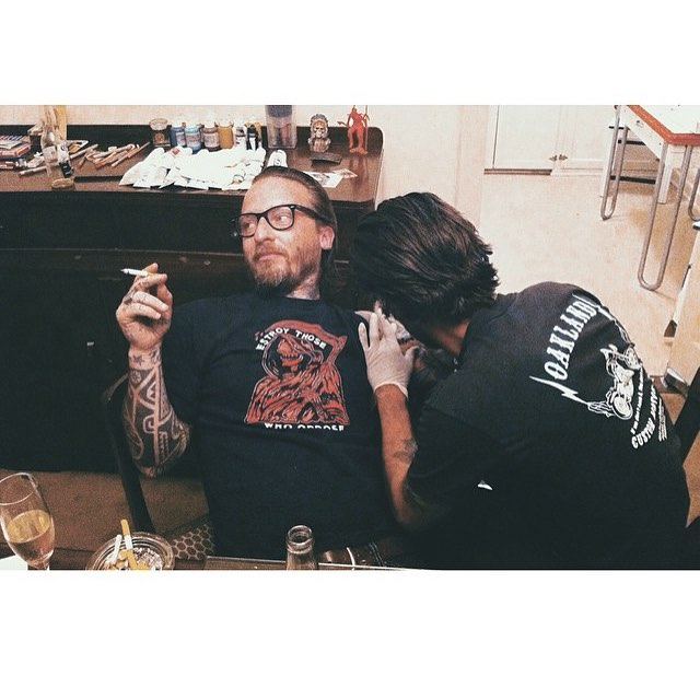 2011 getting tattooed at chateau marmont hotel by Max Schaaf @4q69 we all went Hollywood that weekend 😎