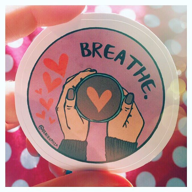 We all need a reminder sometimes. #breathe 🙆🏽‍♀️ - These are available at the @beachxpizza Redbubble store. Spread the love ❤️