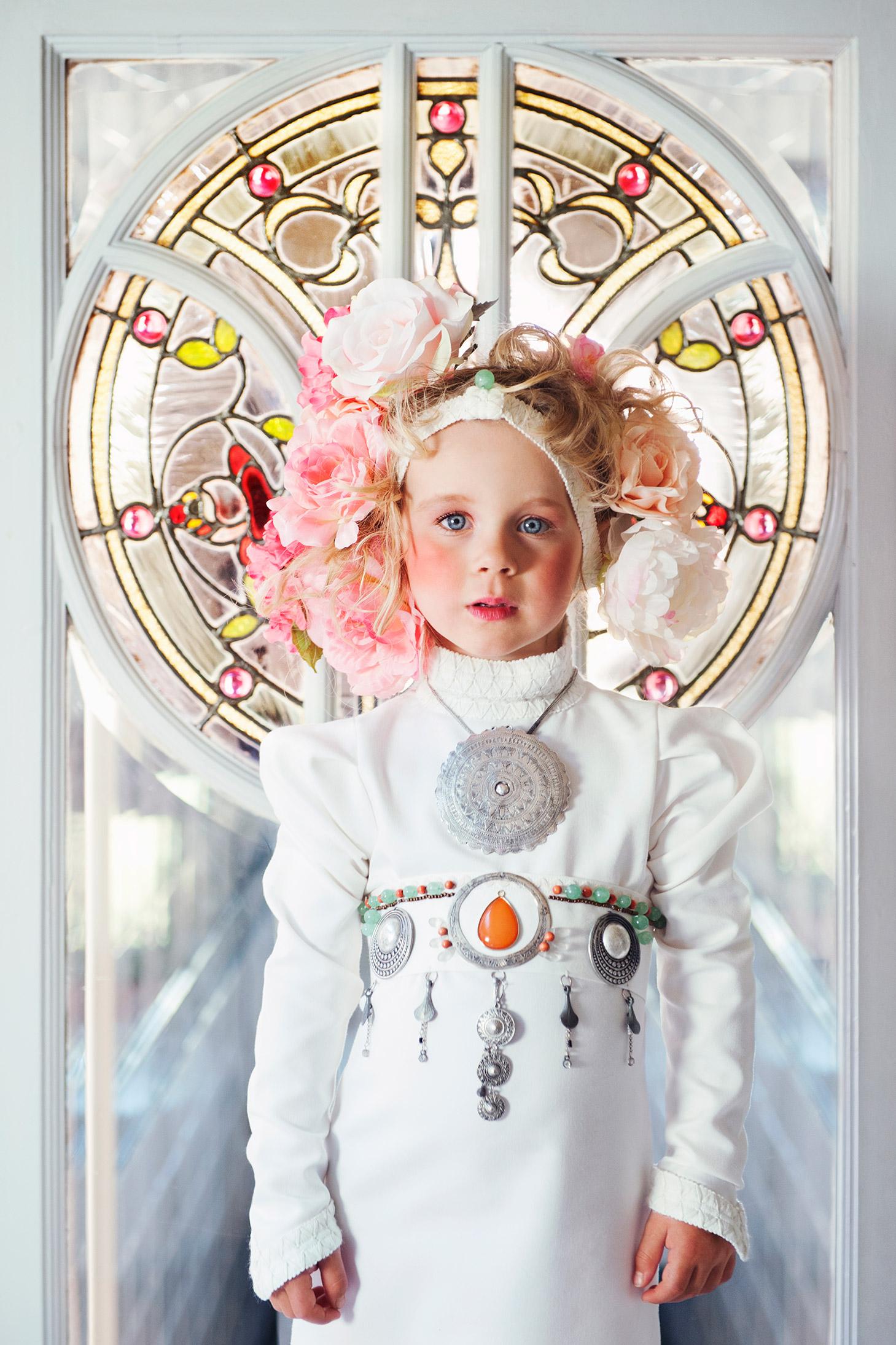 art nouveau kids flowers girl