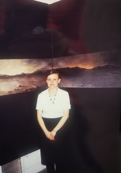 Sara Velas with  Nocturnal Panorama of a Desert Landscape , 1999 Washington University Steinberg Gallery, St. Louis, Missouri photo credit: Joe Velas