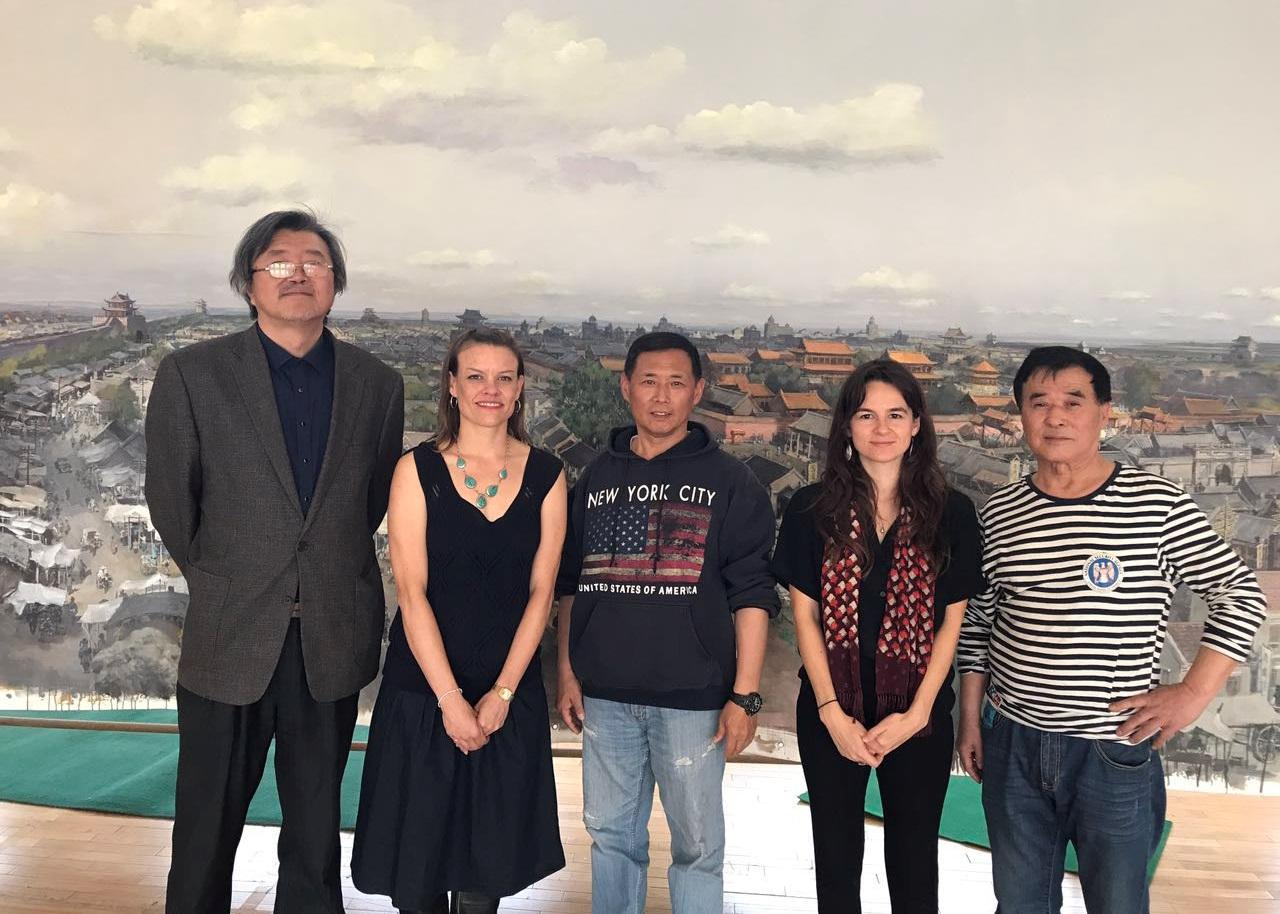 Li Wu, Sara Velas, Hexi, Ruby Carlson, Sun Ling in front of  Shengjing Panorama , May 2017 photo credit: Guan Rong