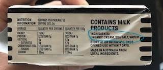 Butter A: Ingredients: Organic cream, sea salt, water