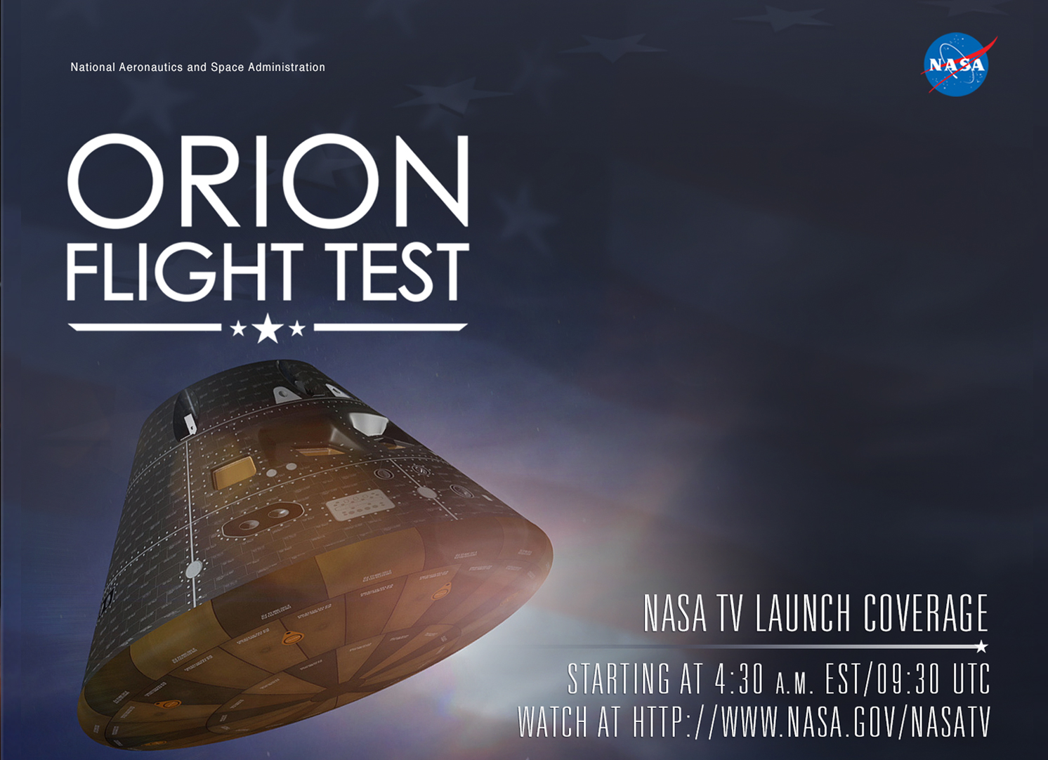Social media shareable designed for launch coverage of Orion's first flight