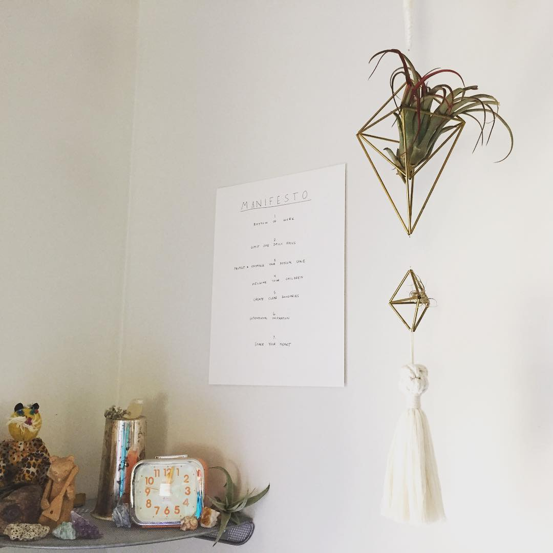 the artist's manifesto posted in her bedroom