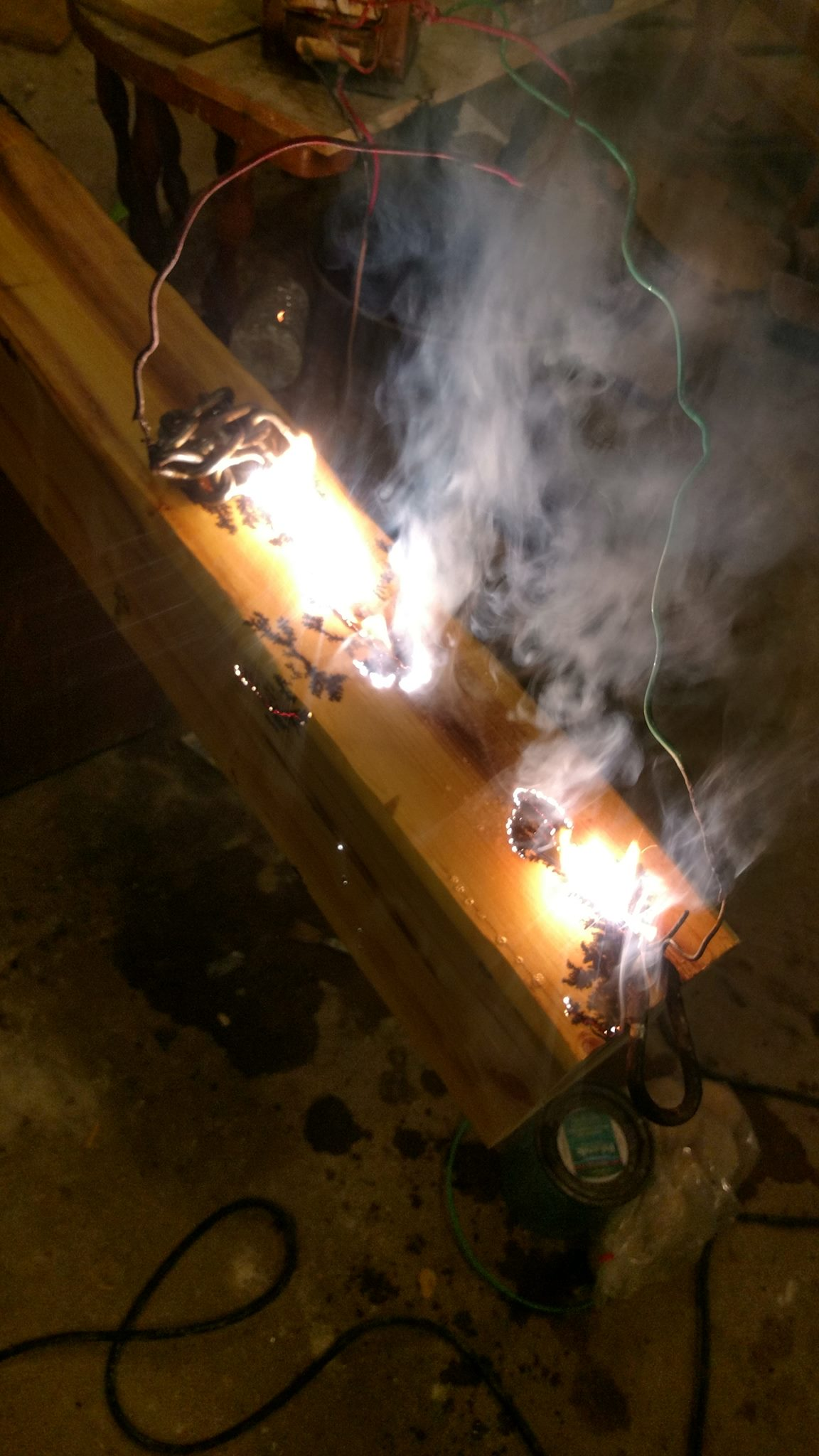 Electrifying the wood is a rather exciting process.
