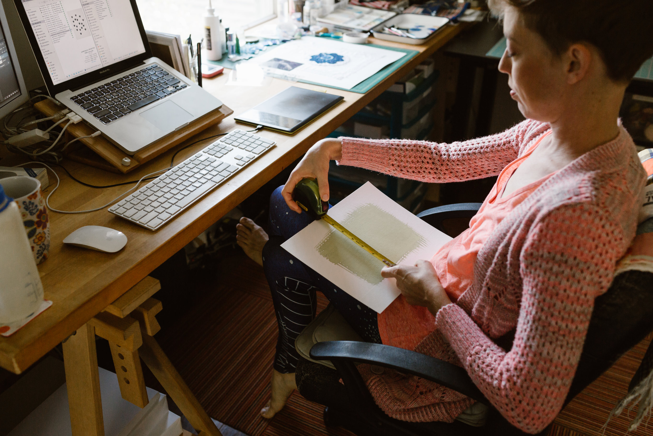 All artists need space in which to work -- here I am at my very special, very own desk measuring out a print size!