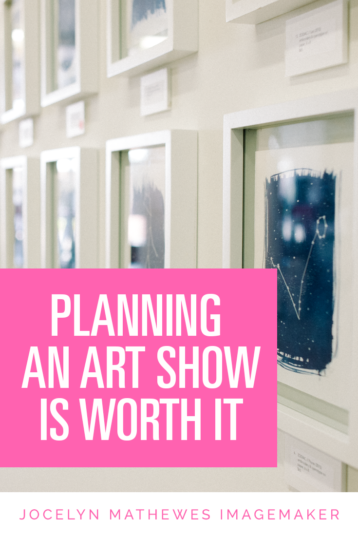 Planning an art show can be a huge undertaking, but there are so many benefits: clarity about your work, learning to market yourself, feedback from new viewers. Here are a few tips I have if you're going to plan your own art show.