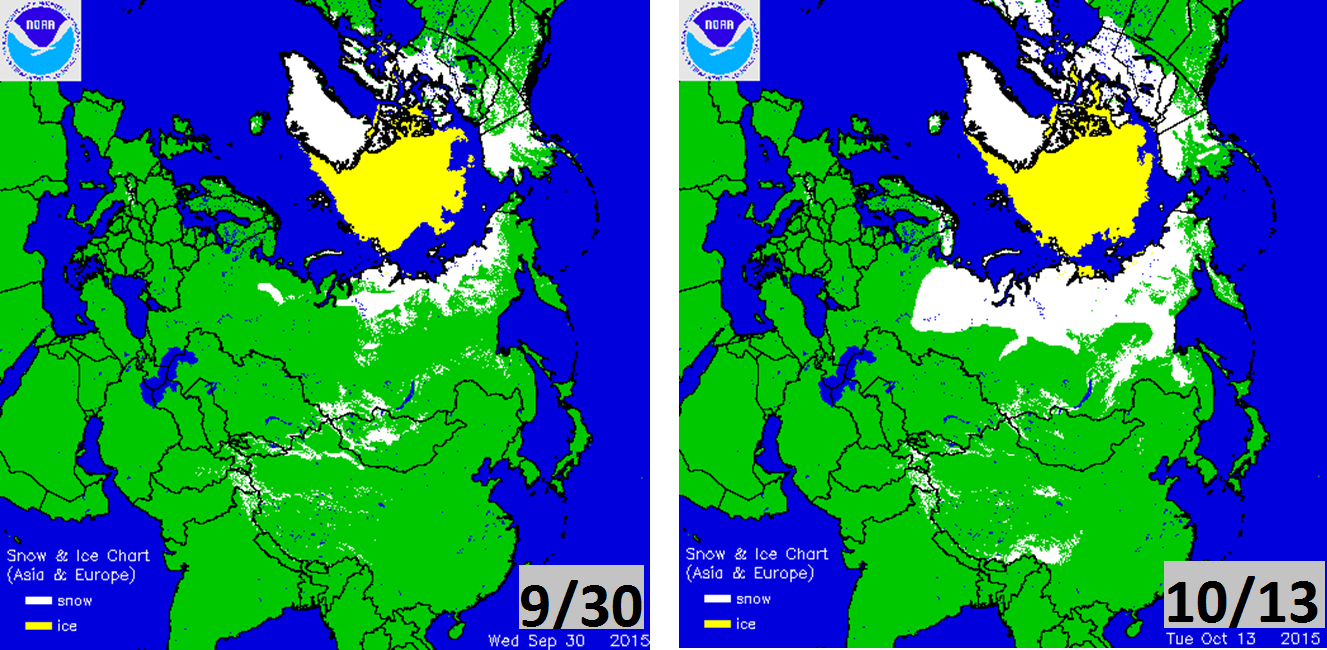 Noticeable expansion of Siberian snow cover (in white) from 9/30 (left) to 10/13 (right); courtesy NOAA